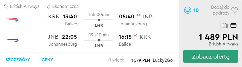 tanie loty do RPA z Krakowa
