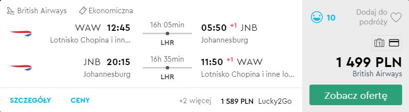 tanie loty do RPA z Warszawy