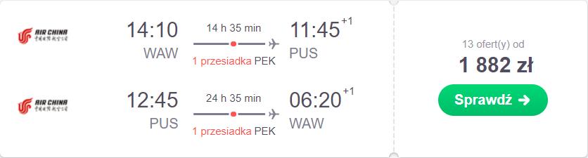 Pusan loty z Warszawy