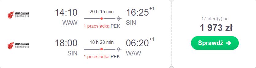 Singapur loty z Warszawy