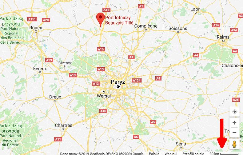 Mapa Paryż Beauvais