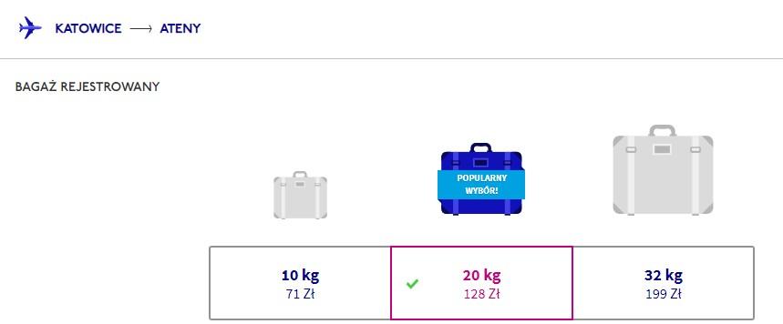 Cena bagażu rejestrowanego