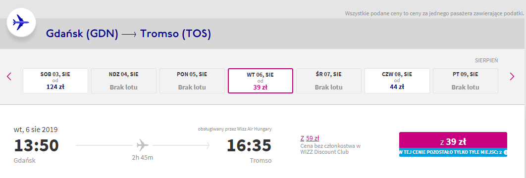 Połączenie z Gdańska do Tromso