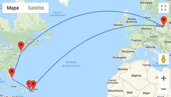 mapa podrózy