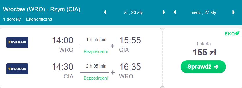 loty do rzymu