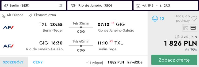 zarezerwuj loty do brazylii