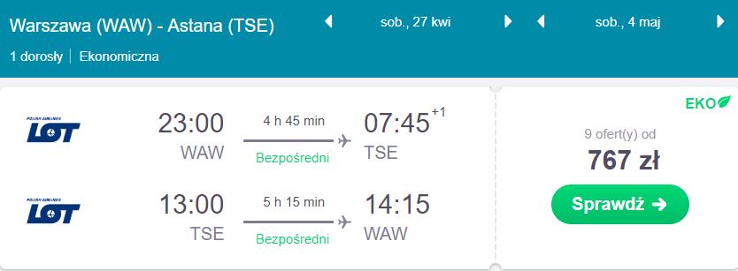 Kazachstan z Warszawy