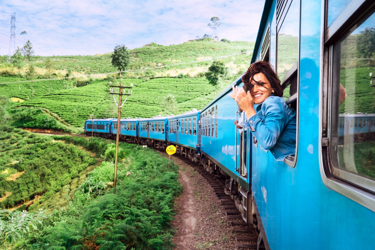 turystka w pociągu