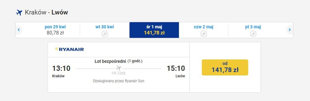 Połączenie Ryanair do Lwowa