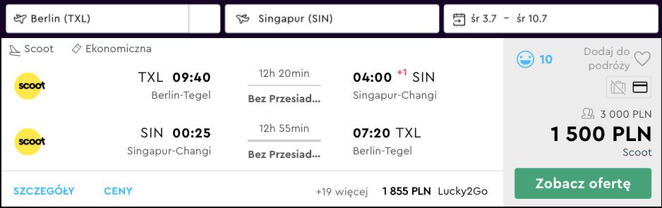 zarezerwuj loty do singapuru