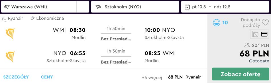 zarezerwuj loty do sztokholmu