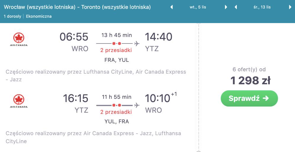 zarezerwuj loty do Toronto