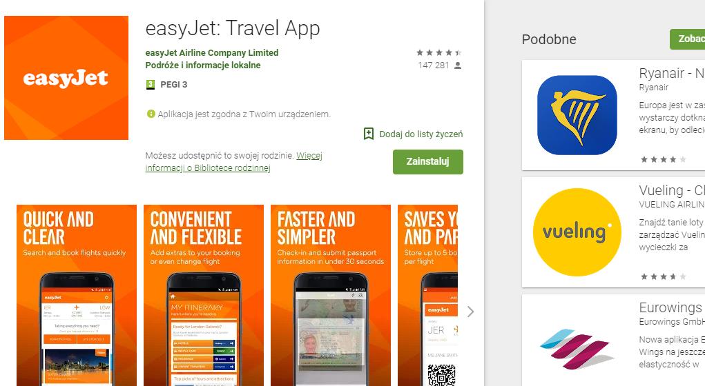 Aplikacja easyJet