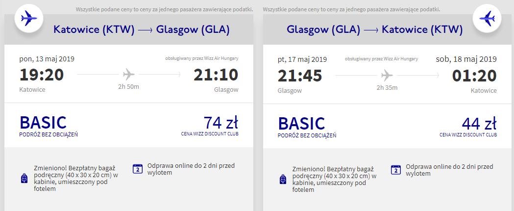 Bilet do Glasgow