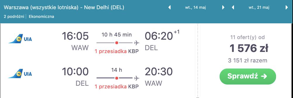 zarezerwuj loty do delhi