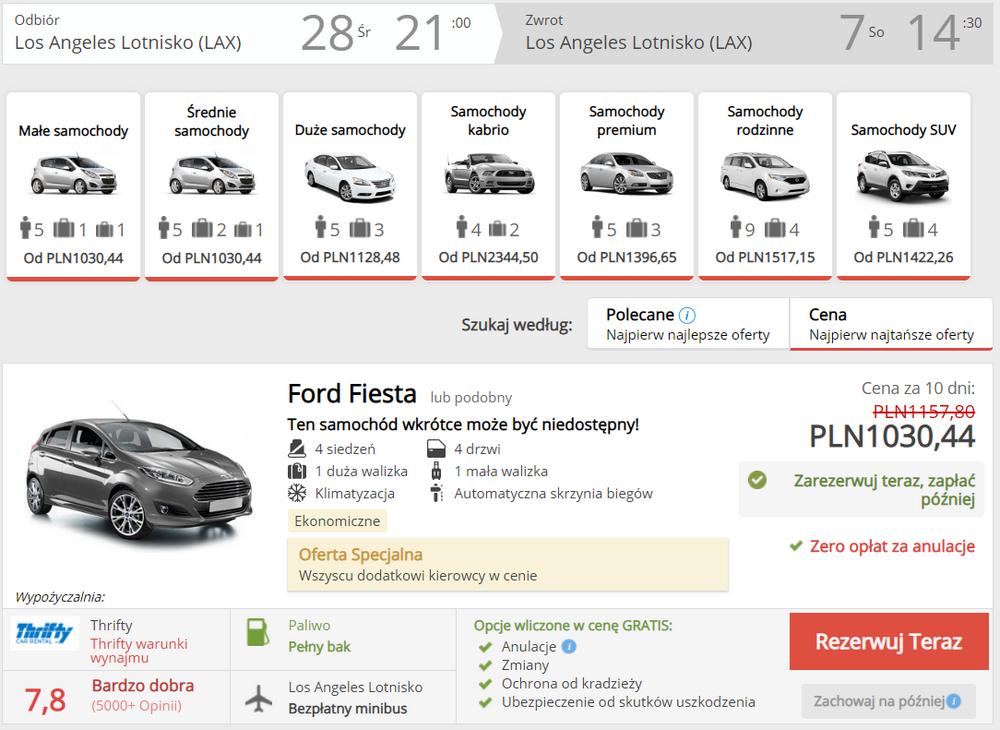 Los Angele auto wypożyczenie