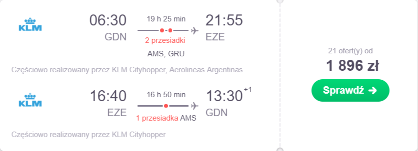 Gdańsk loty do Buenos