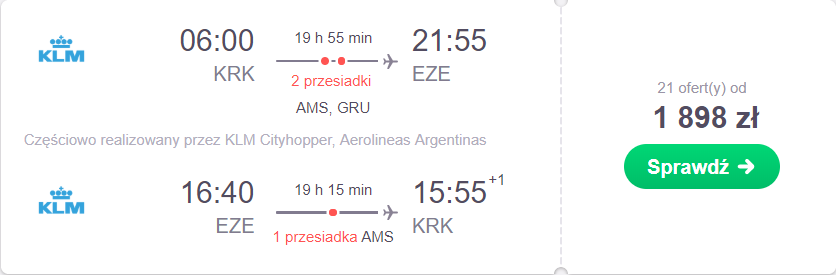 loty z Krakowa