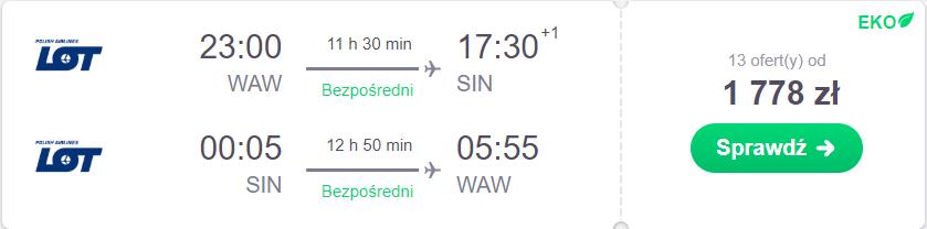 bezpośrednie loty do singapuru