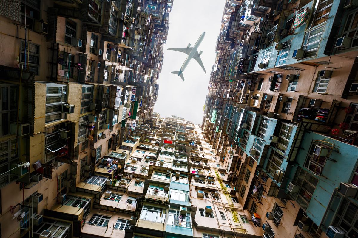 samolot w Hongkongu