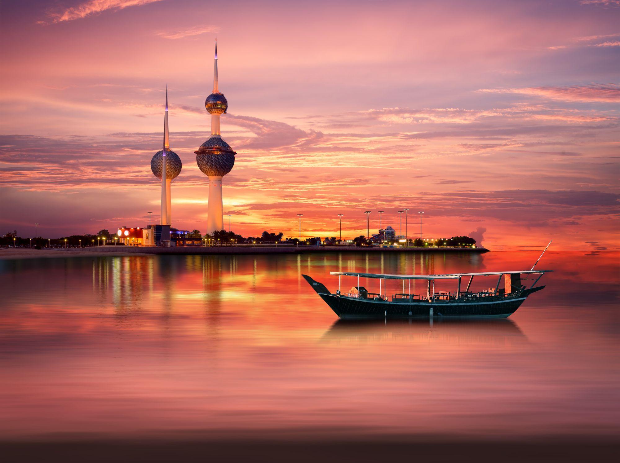 Kuwejt o zachodzie słońca