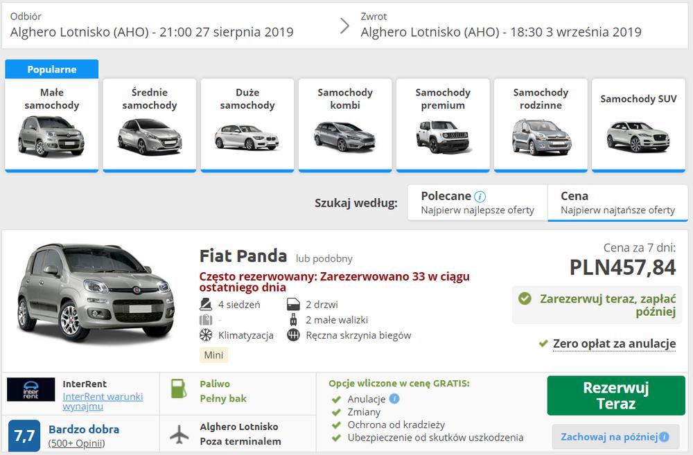 wypożyczenie auta na Sardynii
