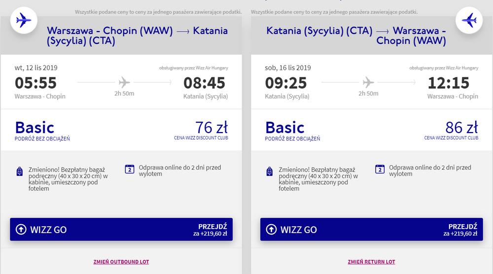 Sprawdź cenę lotów z warszawy do Katanii