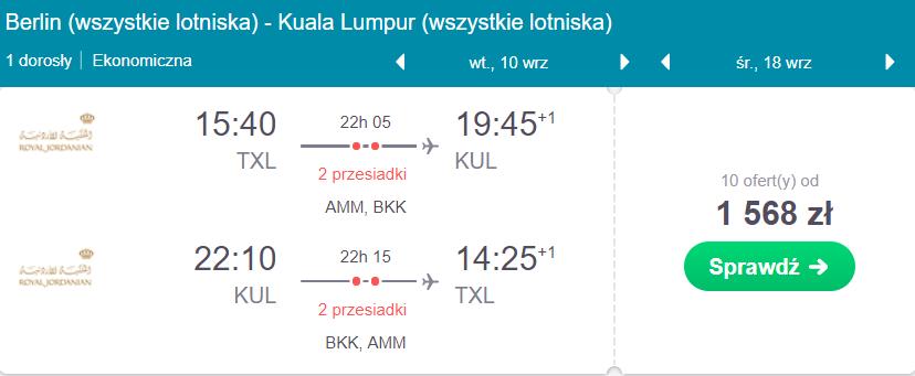 loty do Malezji