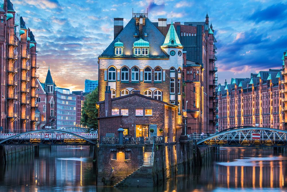 Hamburg o zmierzchu