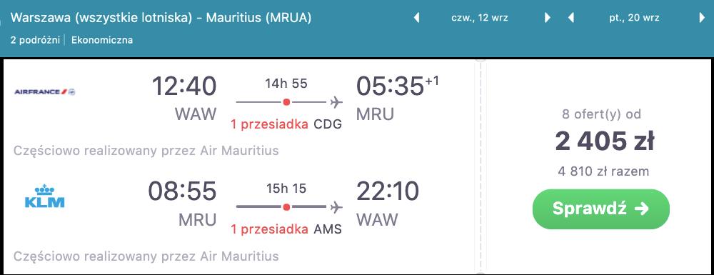 zarezerwuj loty na mauritius