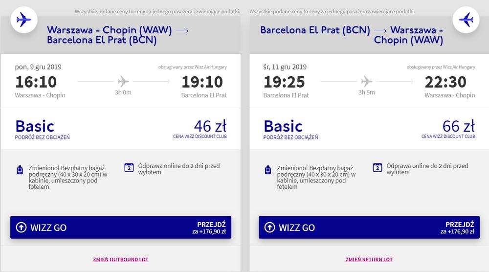 Loty do Barcelony