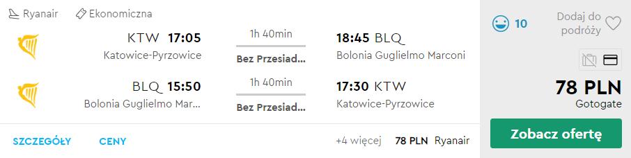 Bolonia z Katowic za 78