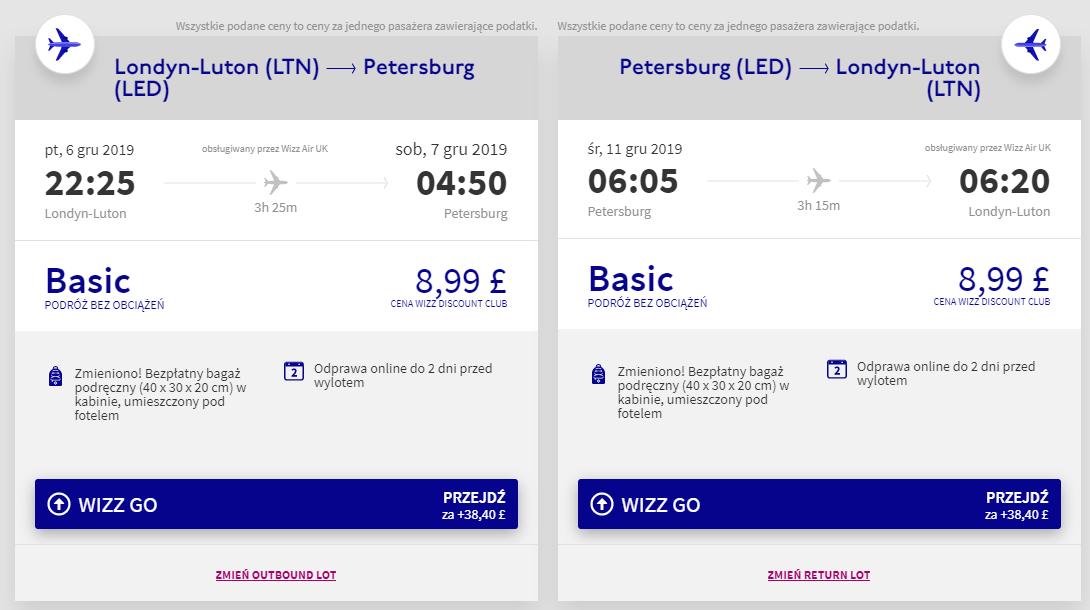 Loty do Petersburga