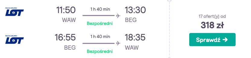 zarezerwuj loty do belgradu