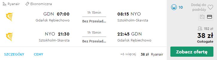 Loty do Szwecji