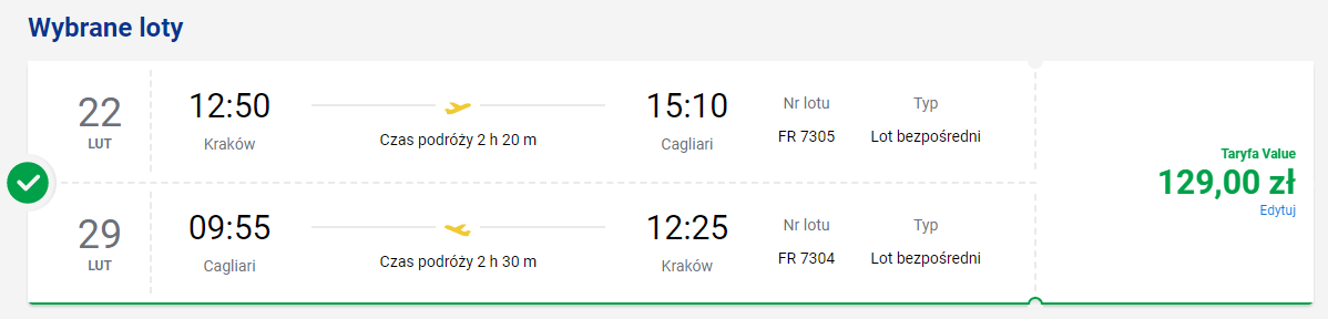 Loty na Sardynię