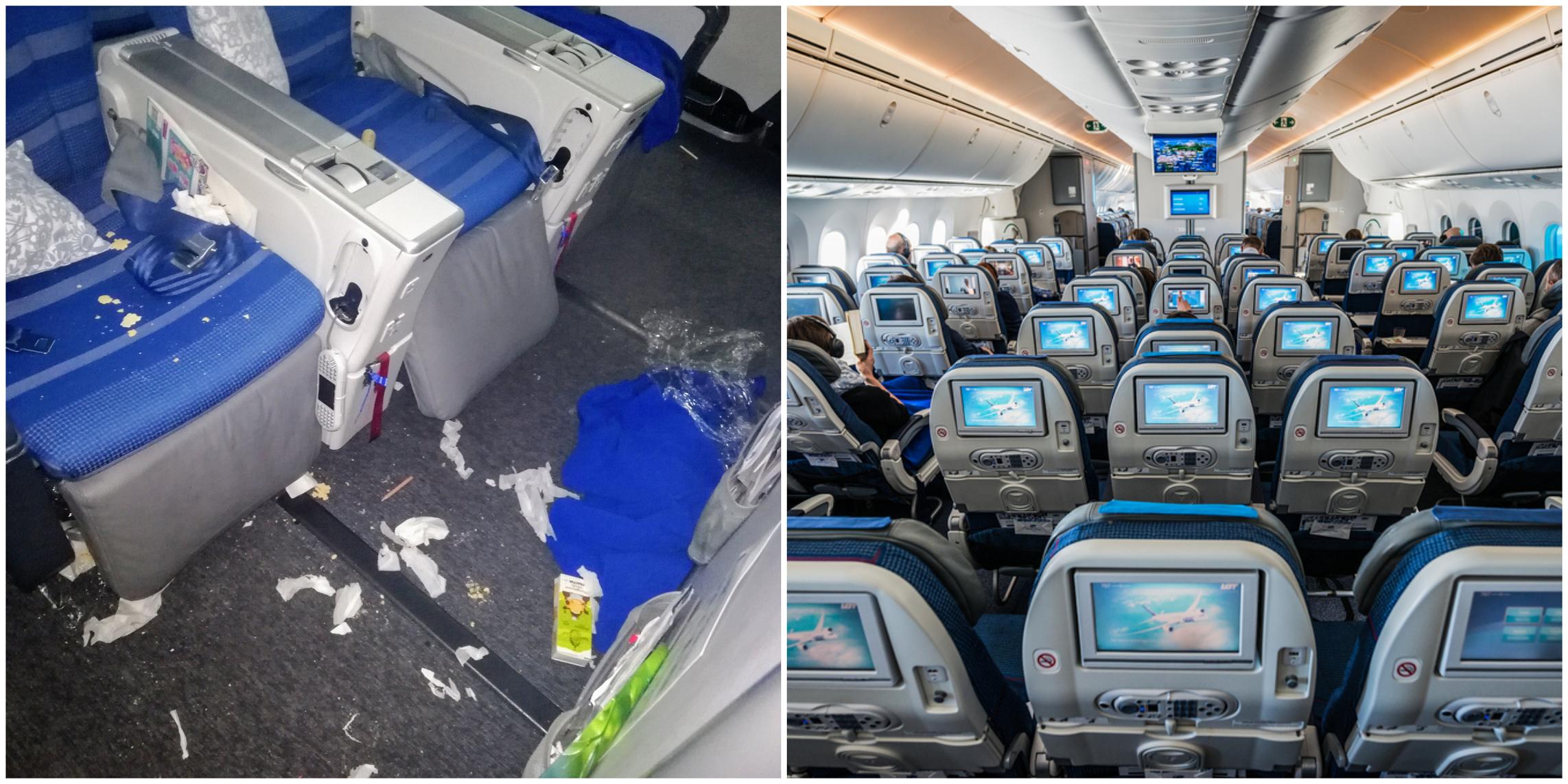 bałagan w samolocie