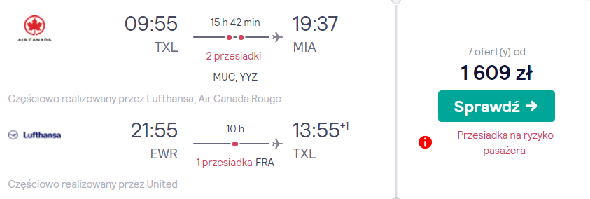 loty do stanów