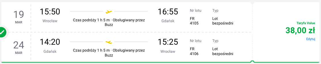 zarezerwuj loty do gdańska