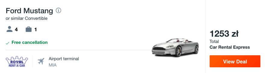 zarezerwuj auto w miami