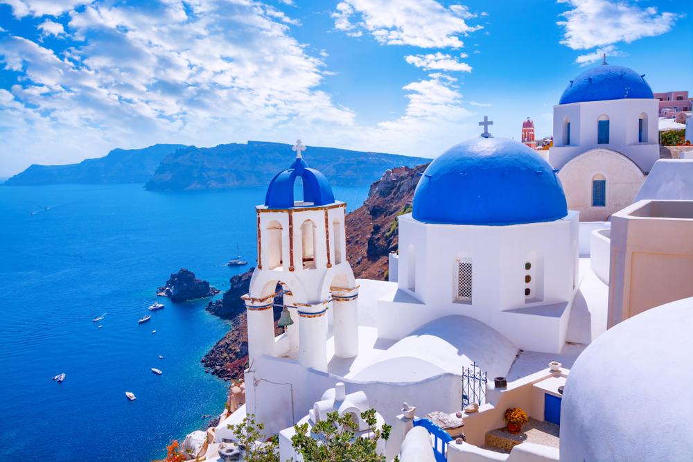 Santorini za dnia