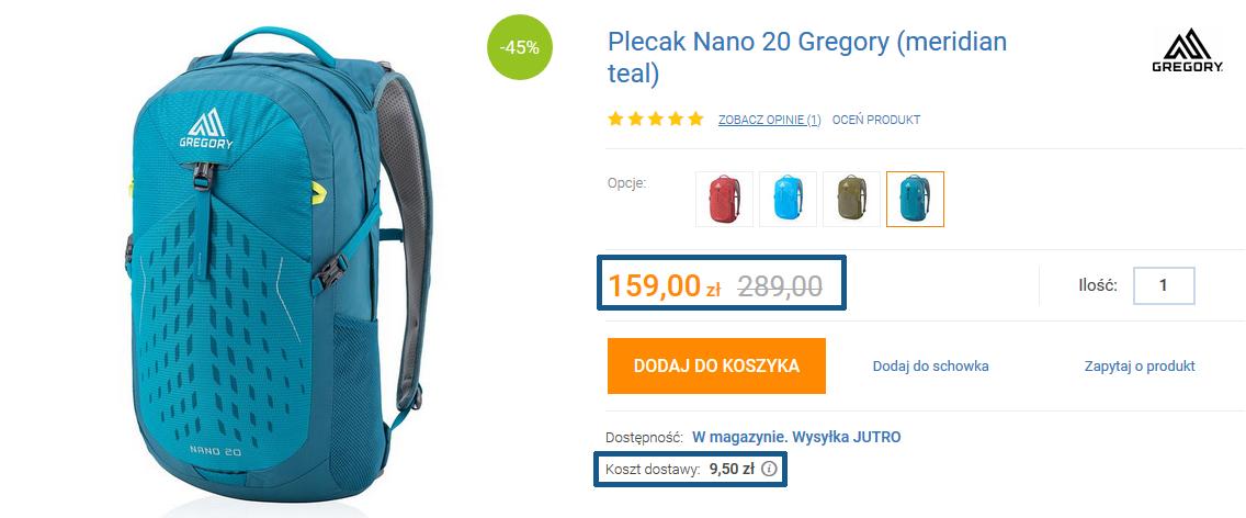 Zamówienie plecaka