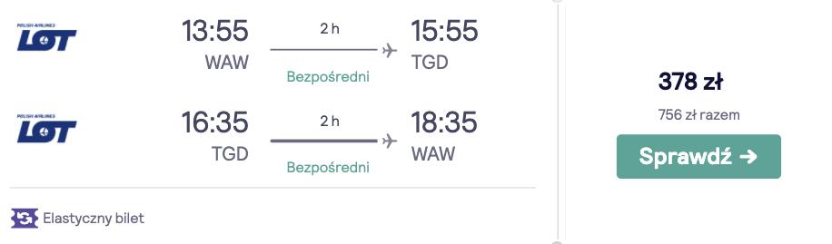 Loty do Czarnogóry