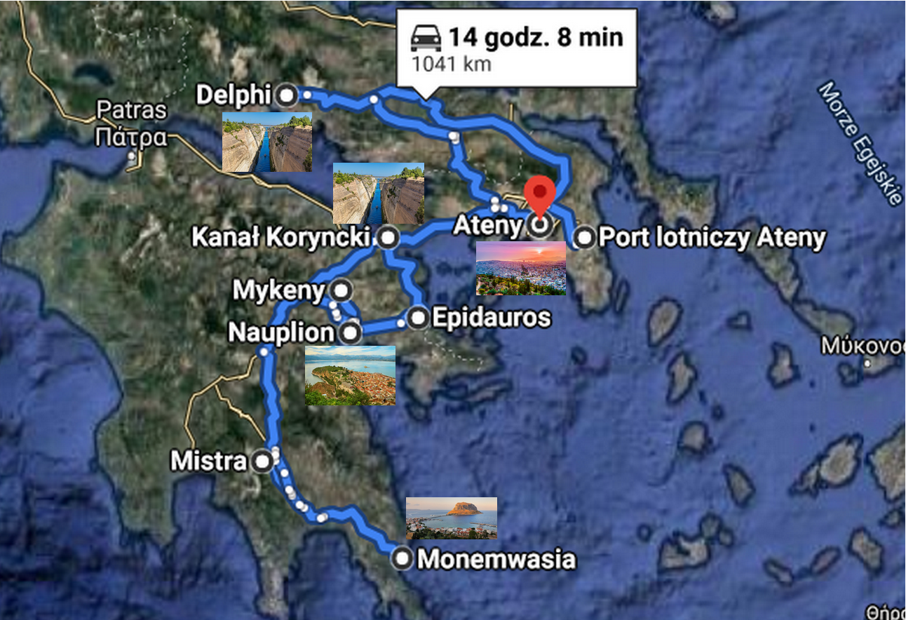 plan objazdówki Grecja